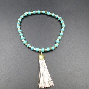 Flexible Genuine Blue Stones & Tassel Bracelet